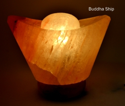 Buddha ship salt lamp